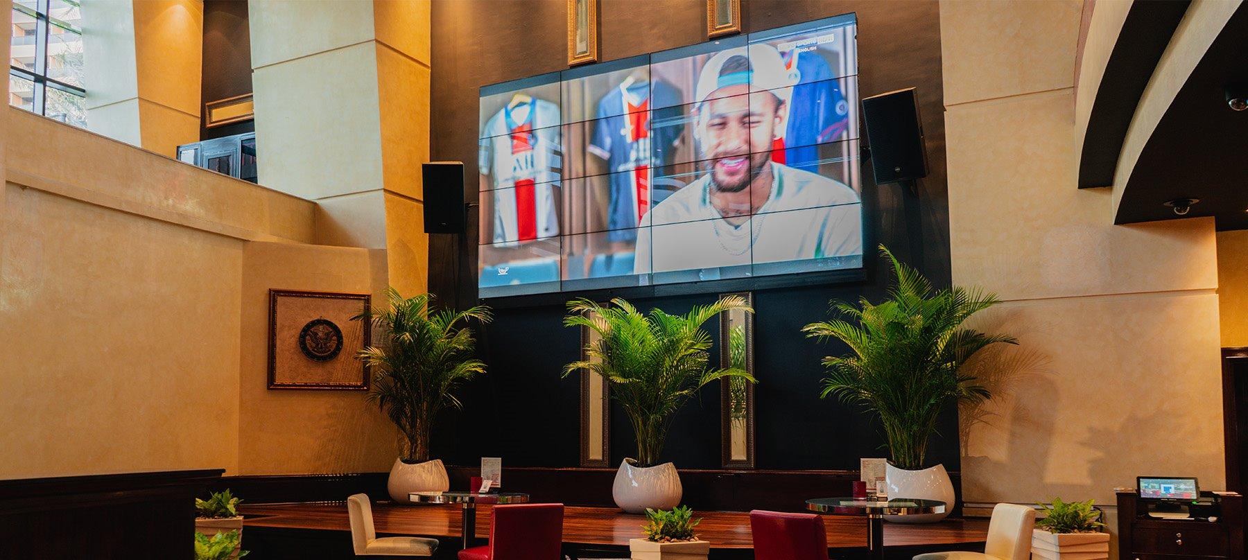 Big screen at Shades